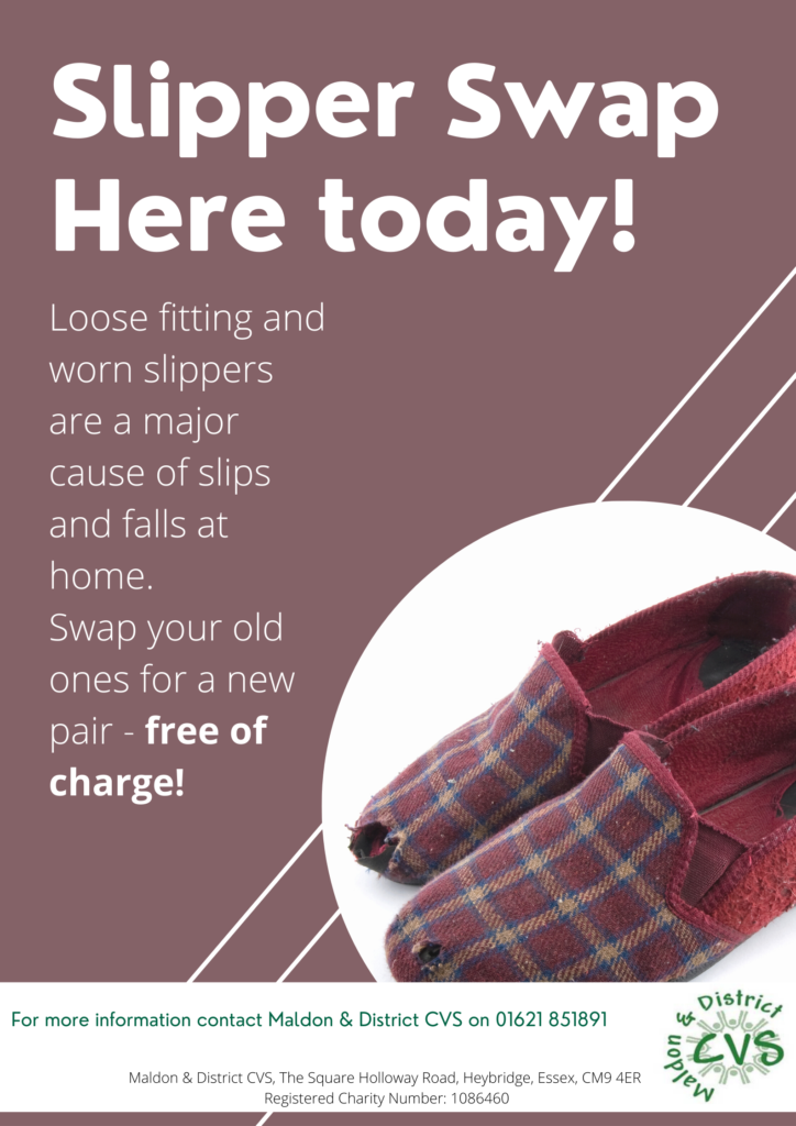 Image of old pair of slippers illustrating that these are a major cause of falls in the home. Come along to one of our Slipper Swaps to get a new pair.